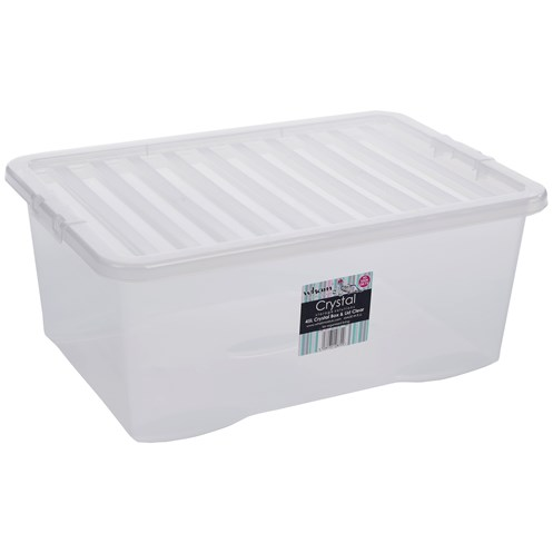 Wham  Crystal Storage Box & Lid Clear - 45 Litre
