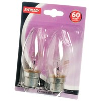 Eveready  Incandescent Clear Candle Light Bulb 60W BC - 2 Pack