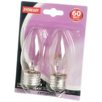 Eveready  Incandescent Clear Candle Light Bulb 60W ES - 2 Pack
