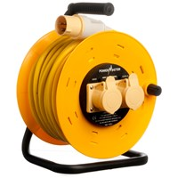 Powermaster  40m 2.5 Open Cable Reel Cassette 16A 110V - 2 Gang